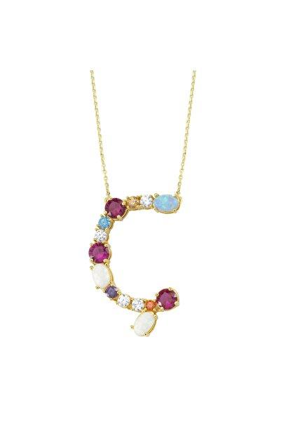 Luzdemia Opal Initial Ç Kolye 925