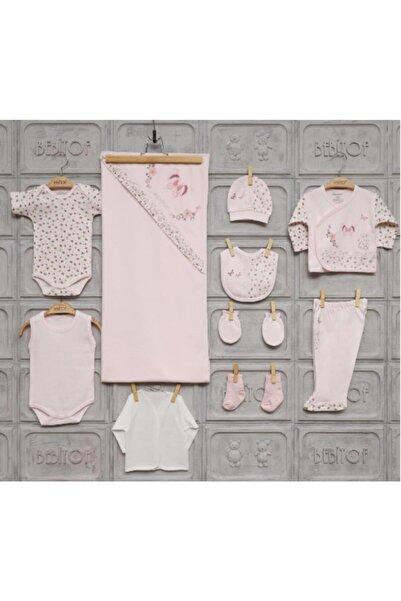 Bebitof Kız Bebek Kelebekli Taşlı 10 Lu Hastane Çıkışı Pembe