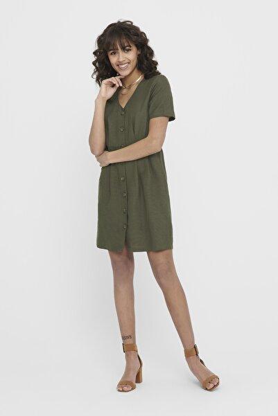 Only Kadın Yeşil Düğmeli Kısa Kollu Elbise 15199790 ONLVIVA