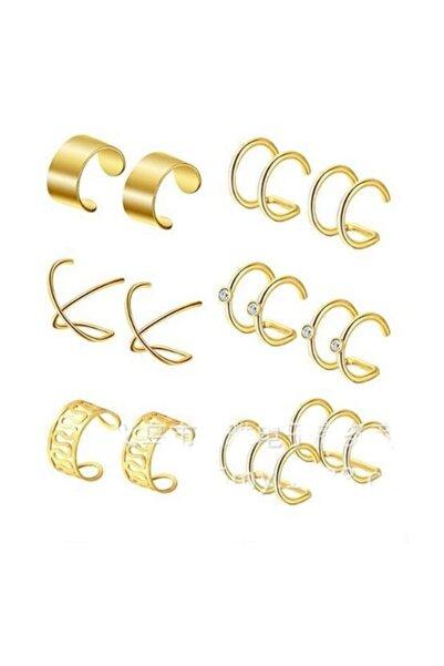 Chavin Kadın Gold İp Çelik 6 Takım Kıstırma Kadın  Küpe ehy-eb66sr