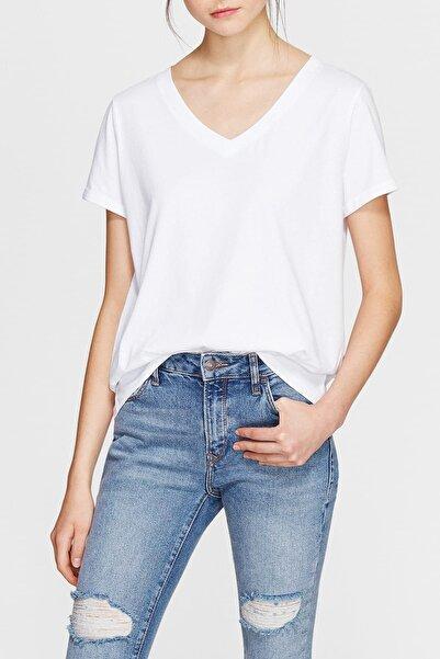 Kadın V Yaka Basic Beyaz T-Shirt