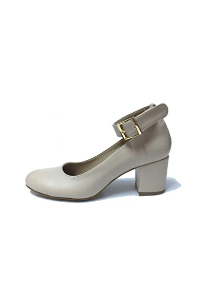 Stella Kadın Krem Bilekten Bağlı Topuklu Ayakkabı 2365