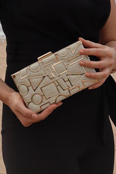 weem bag Kadın Altın Kum Sim Geometri Lazerli Abiye Çanta