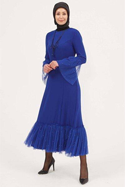 Setrms Kadın Sax Uzun Kollu Tül Detaylı Krep Elbise
