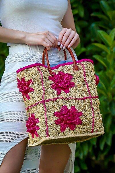 Chiccy Kadın Multi Vintage Çiçek Motifli Torba Astarlı Hasır Çanta C30090400Cf97243