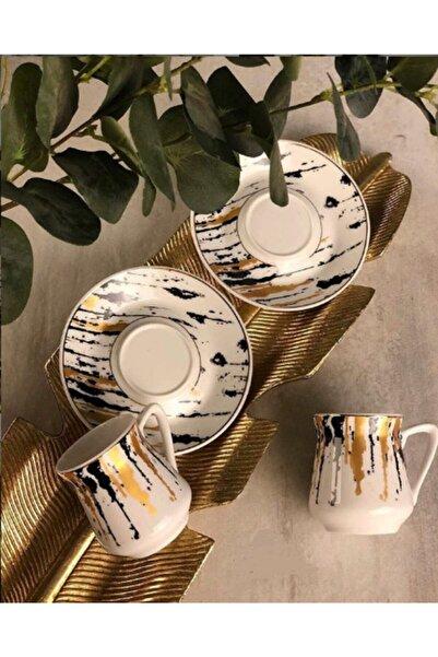 Sembol 6lı Porselen Kahve Fincan Seti Takımı Akıtma Picasso Desen