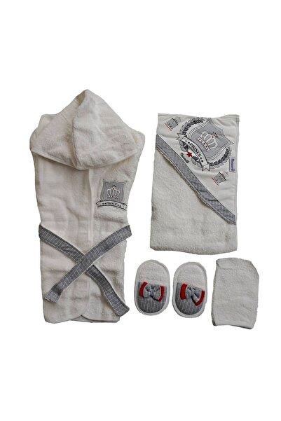 Miniworld Erkek Bebek Bornoz Takımı 4lü Set Prens Desen