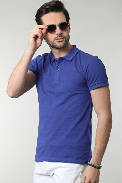 Tudors Erkek Lacivert Polo Yaka Düz T-shirt