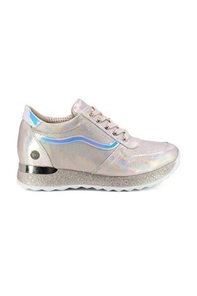 D20YA-145 Kadın Hakiki Deri Spor Ayakkabı Pudra