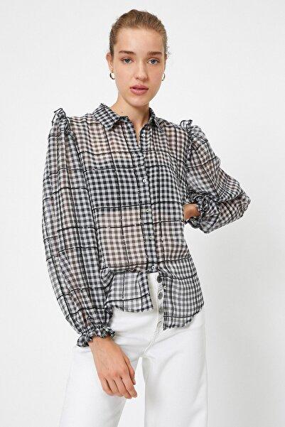 Koton Kadın Siyah Desenli Gömlek 0YAK68953PW
