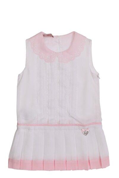 Miss Blumarine Kız Çocuk Bebe Yakalı Beyaz-Pembe Elbise