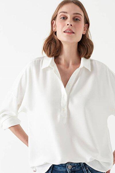 Uzun Kollu Bluz kırık beyaz