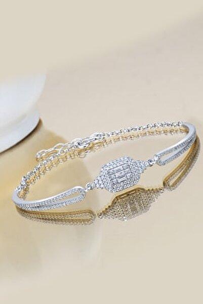 Kadın Gümüş  Baget Taşlı Kelepçe Bileklik