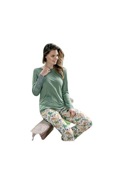 Yeni İnci Kadın Yeşil Çiçekli Pamuklu Pijama Takımı