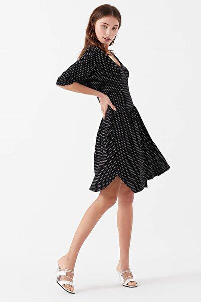 Kadın Asimetrik Puantiyeli Elbise 168443-900