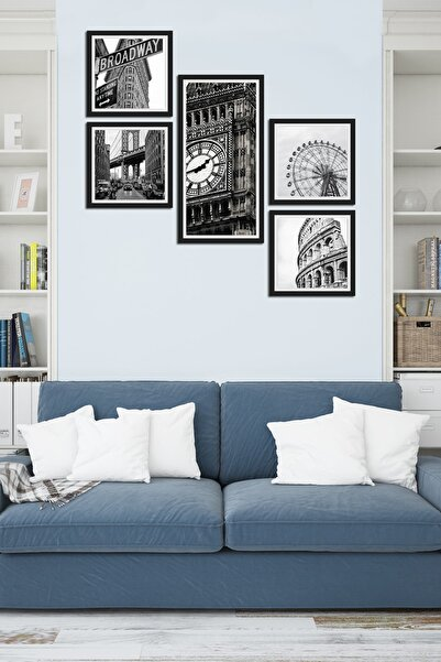 Cadran Collage Style 5 Parçalı Mdf Tablo Atf218