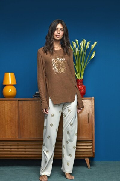 Penyemood Kadın Kahverengi Penye Mood Pijama Takımı 8623