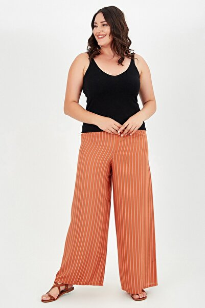Moda Cazibe Büyük Beden Bol Kesim Çizgili Pantolon