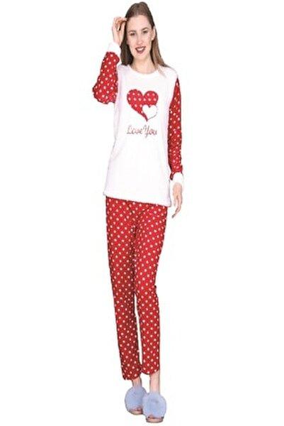 Kadın Kışlık Uzun Kollu Kalpli Polar Welsoft Pijama Takımı