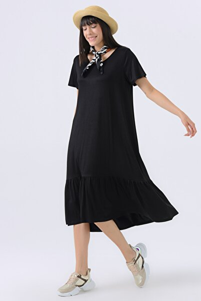 Kadın Siyah Penye Elbise  20YG001376
