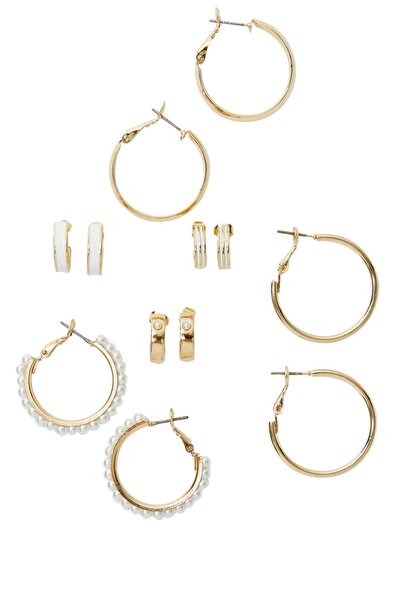Stradivarius Kadın Beyaz 6'Lı Renkli Halka Küpe Seti 00080005