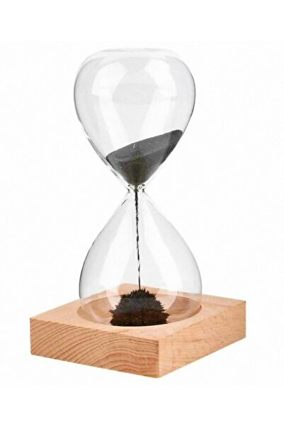 Tiktak sepette Kum Saati Mıknatıslı Kum Saati Ahşap Standlı Manyetik Kum Saati