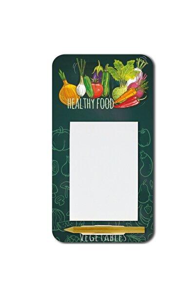 WuW Sağlıklı Yiyecek Desenli Magnetli Kalemli Mdf Notluk