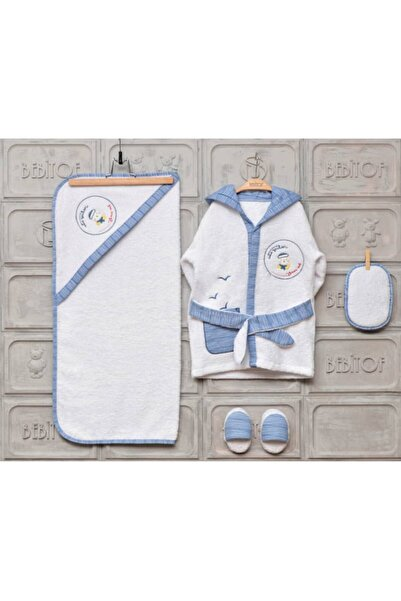 Bebitof Baby Yeni Koleksiyon Erkek Bebek Havlu Bornoz Seti 10030019