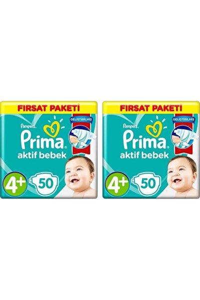 Prima Aktif Bebek No:4+ Maxi Plus 50 Adet Bebek Bezi 2 Adet