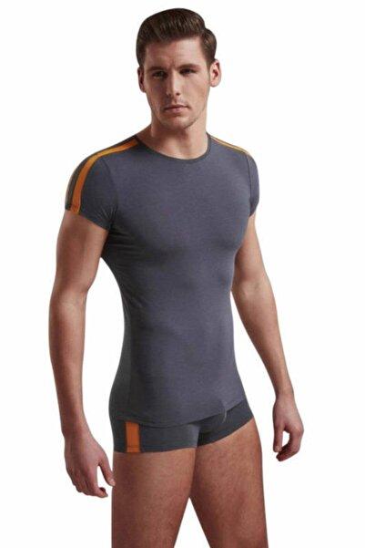 Doreanse Erkek Antrasit Atletik Gösteren Kısa Kollu Likralı Erkek T-shirt 2544