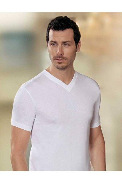 Şahinler Erkek Beyaz V Yaka Kısa Kollu Fit Kalıp Erkek T-shirt 6'lı Ekonomik Paket Me008