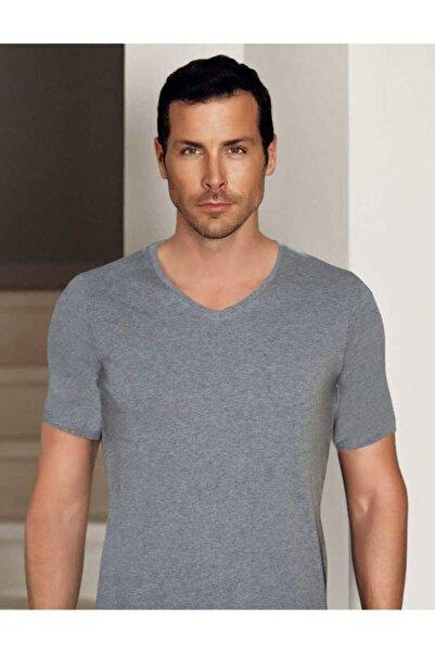 Şahinler Erkek Gri V Yaka Kısa Kollu Modal Erkek T-shirt Me134