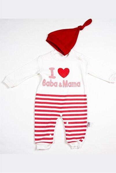 Murat Baby Kız 3-9 Ay Baba Mama Baskılı Tulum