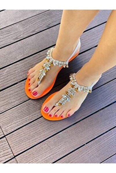 Kadın Bej Turuncu Taşlı Sandalet