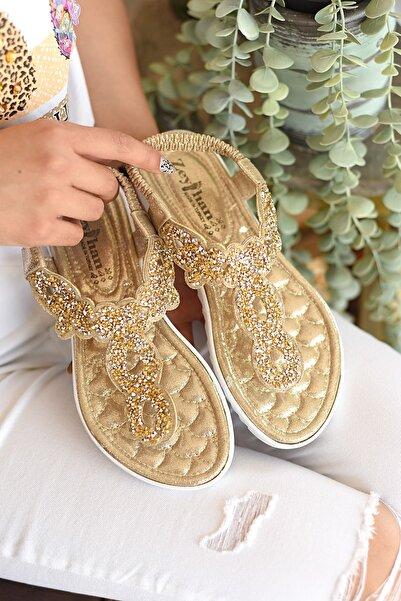 Pembe Potin Kadın Dore Sandalet
