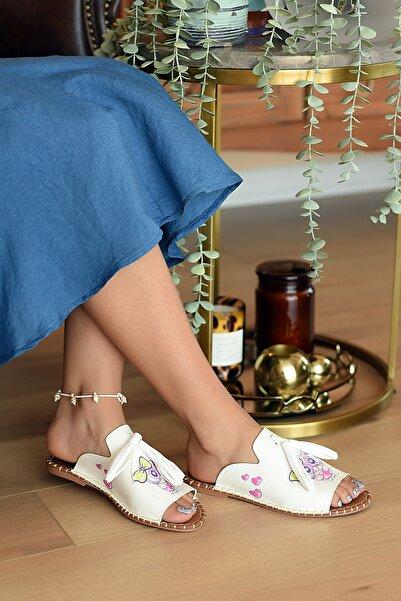 Pembe Potin Kadın Beyaz Baykuş Sandalet