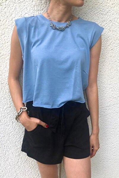 BASIC&CO Kadın Mavi  Spor T-shirt Kolsuz
