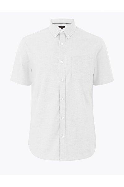 Marks & Spencer Erkek Beyaz Saf Pamuklu Oxford Gömlek T25003250M