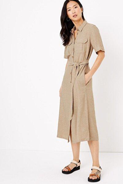 Marks & Spencer Kadın Bej Keten Midi Gömlek Elbise T42008507