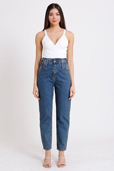 Kadın Mavi Yüksek Bel Denim Kot Mom Jeans 2081