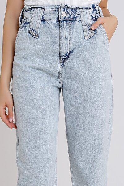 Kadın Açık Mavi Yüksek Bel Denim Kot Mom Jeans 2080