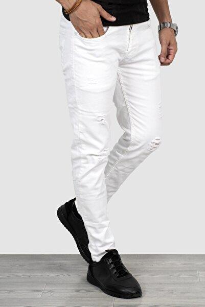 DeepSEA Erkek Beyaz Likralı Kot Pantolon 2004257