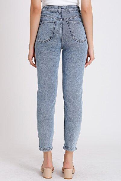Kadın Mavi Yüksek Bel Denim Kot Mom Jeans 2063