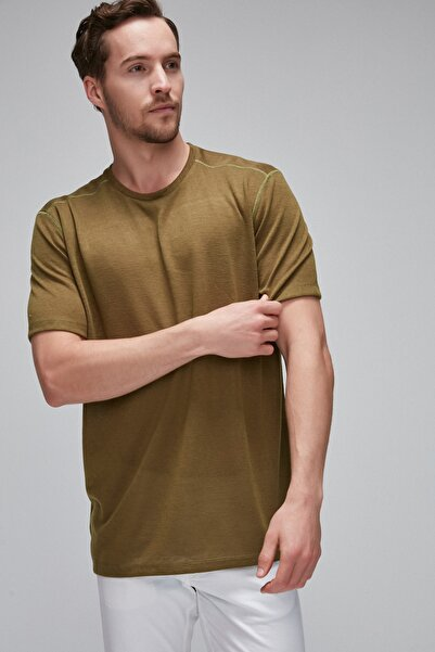 ANDREW Haki Yuvarlak Yakalı Keten Gorunumlu Çizgili T-Shirt