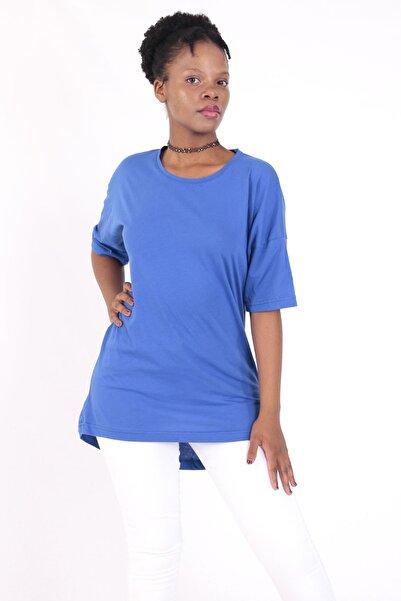DENSMOOD Kadın Oversize Kesim Pamuklu Sax T-shirt