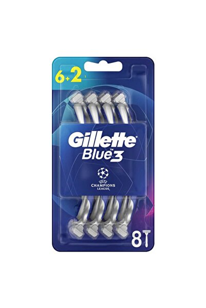 Gillette Blue3 Tıraş Bıçağı Football 6+2'li Şampiyonlar Ligi Paketi