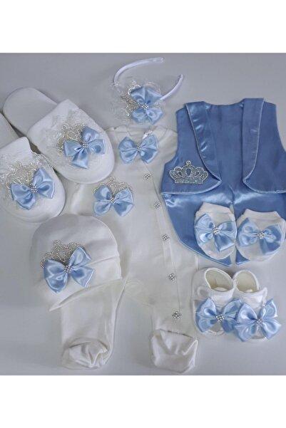 Petite Ponpon Baby Erkek Bebek Hastane Çıkışı  Lohusa Seti Terliği Tacı Terlik Taç Hamile Doğum Hediyesi