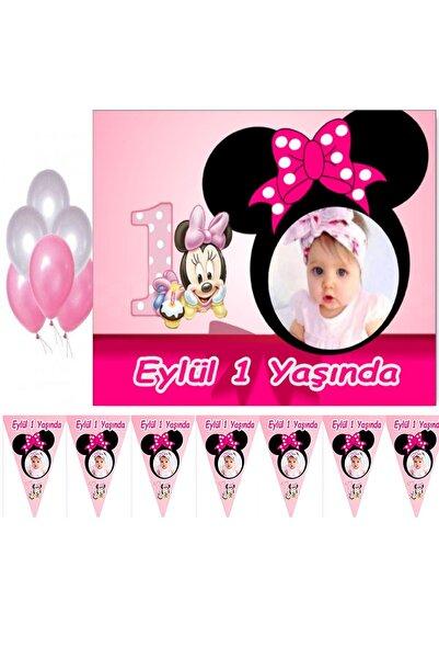 Hayaller Dükkanı Minnie 1 yaş Çocuğunuza Özel Fotoğraflı Afiş ve Flama Seti, Doğum Günü Süsleri 1 yaş