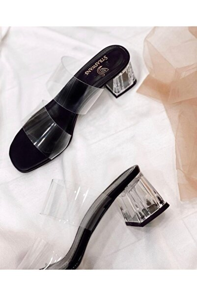 STRASWANS Kadın Siyah Şeffaf Topuklu Sandalet