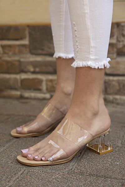 STRASWANS Kadın Bej Şeffaf Topuklu Sandalet